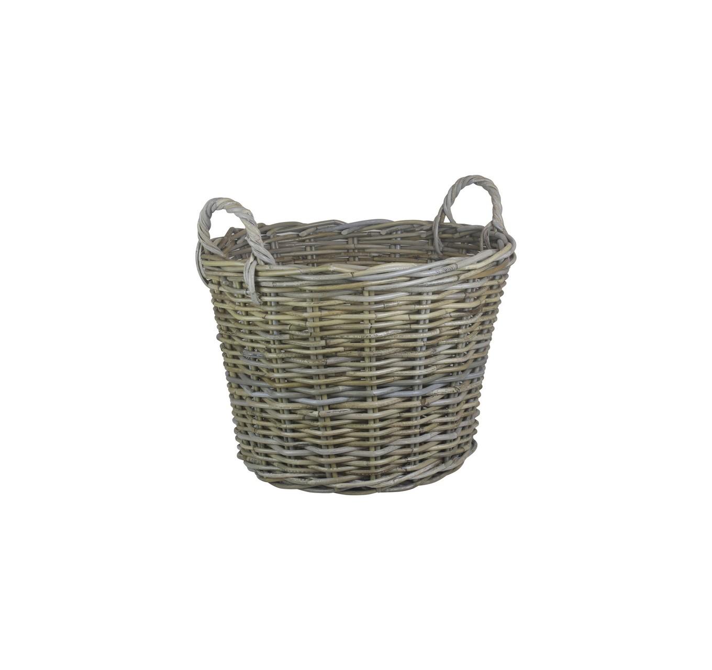 Round Grey Rattan Log Basket L