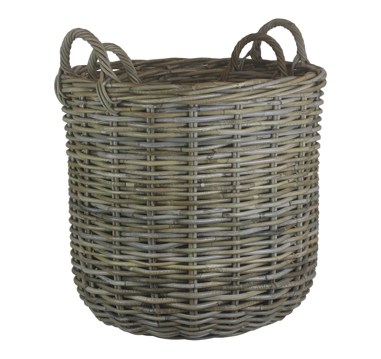 Tall Grey Rattan Log Basket M