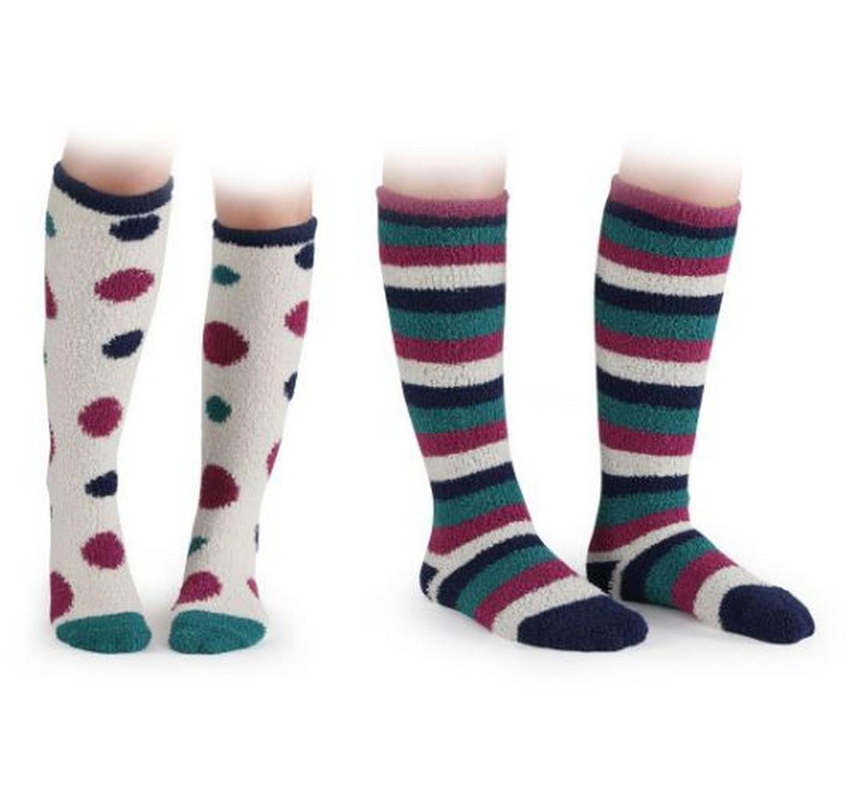 Fluffy Socks 2pk Spot/Stripe
