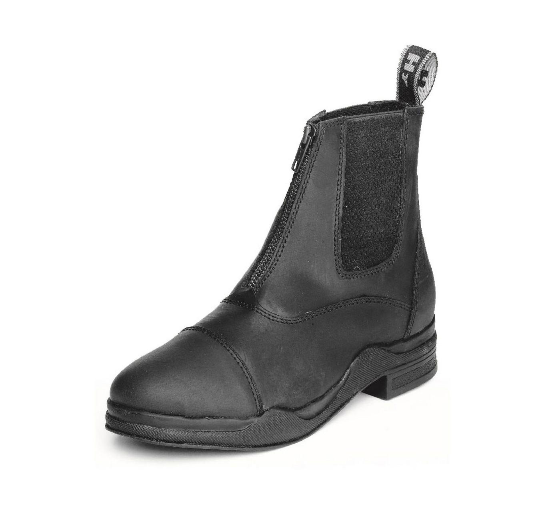 Wax Leather Zip Boot Black 6