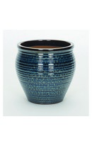 Peacock Glazed Jar Blue 32cm