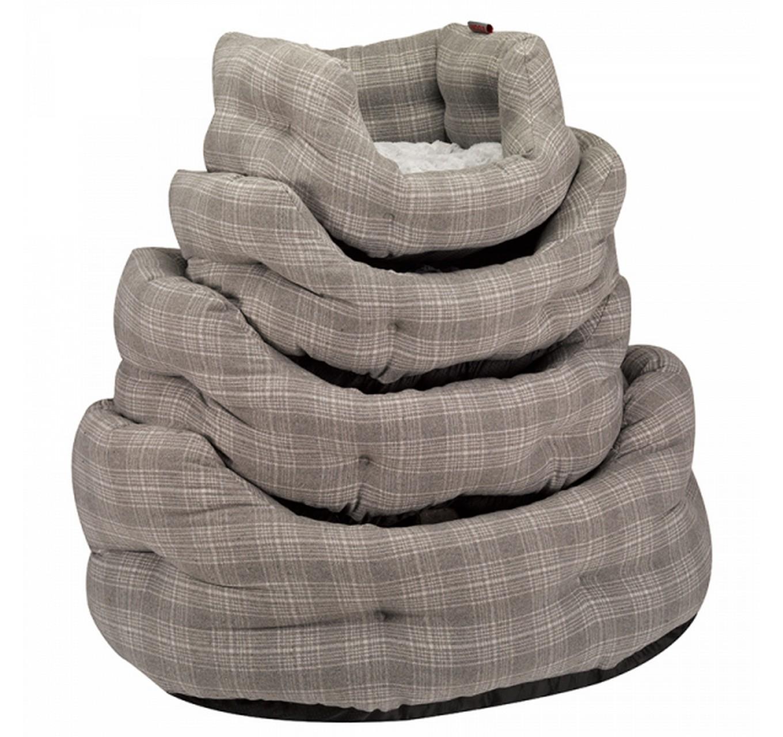 Grey Plaid Oval Bed L