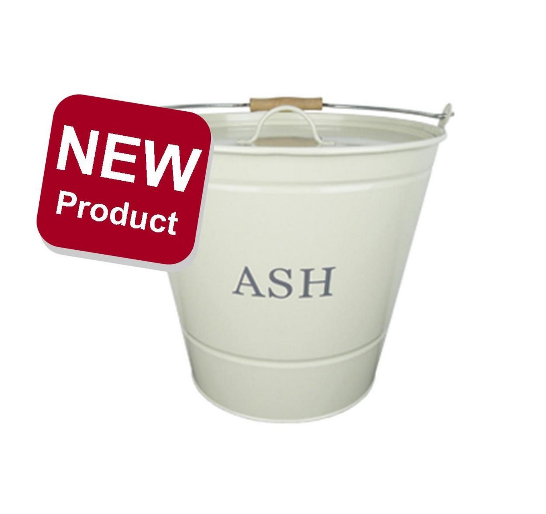 Ash Bucket With Lid - Cream