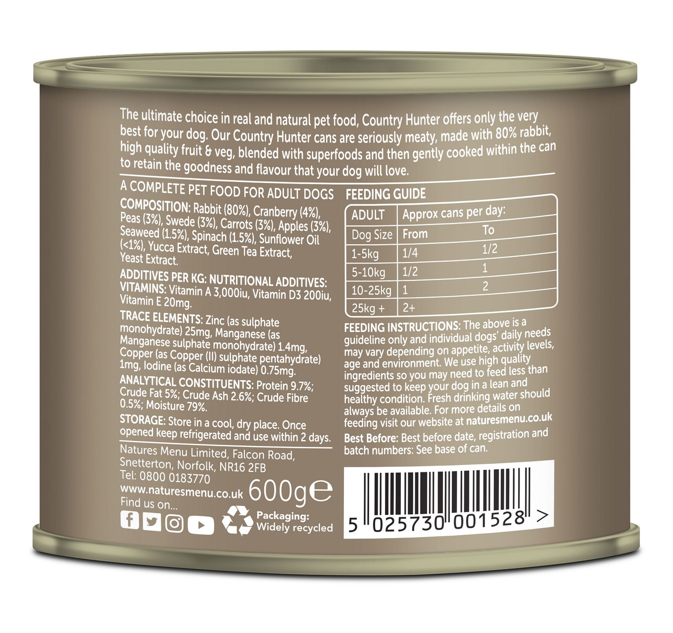 Rabbit & Cranberry Can 600g