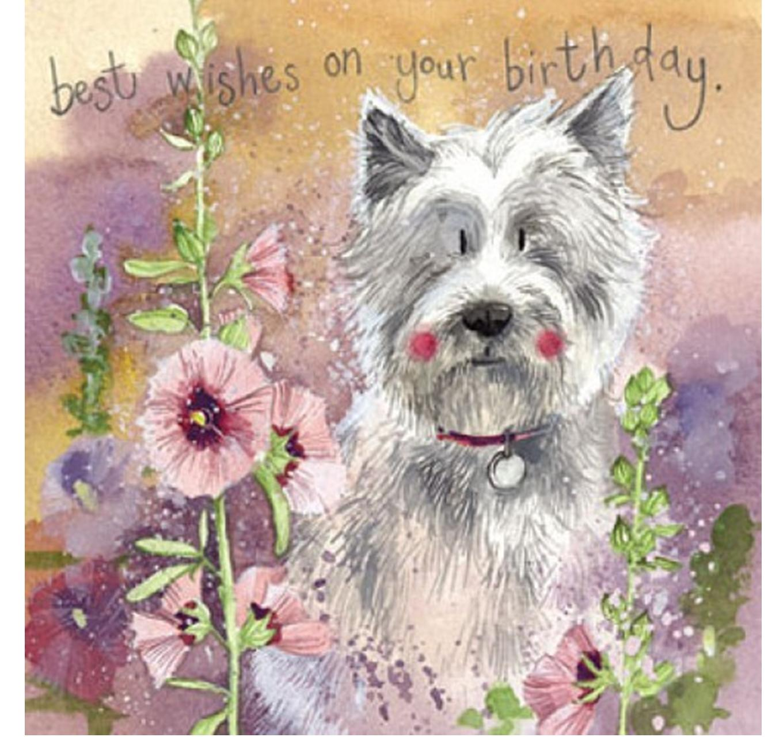 Birthday - Westie & Hollyhocks