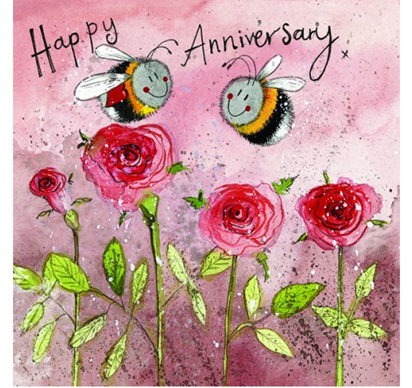 Bees & Roses Anniversary Card