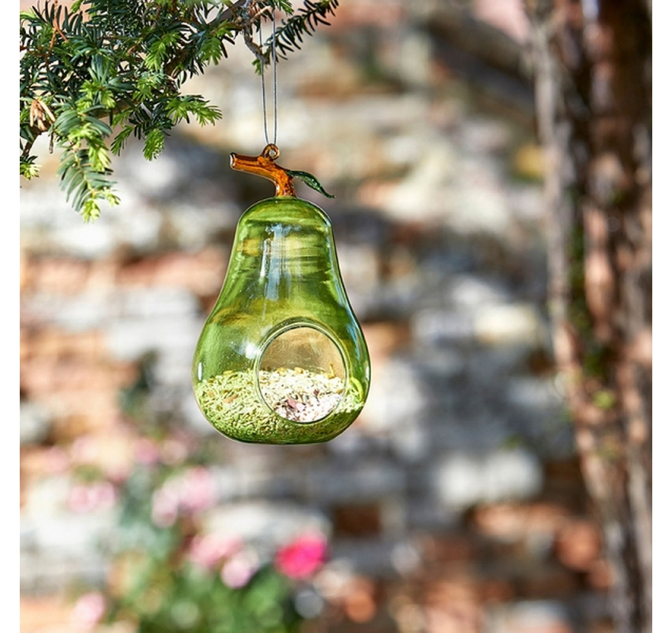 Hanging Glass Feeder - Pear