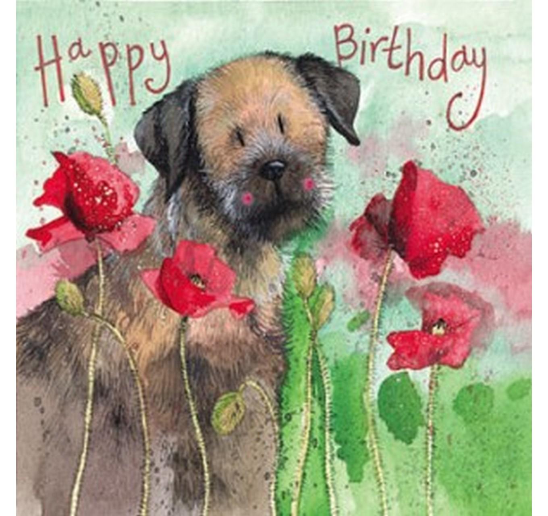 Borders &Poppies Birthday Card