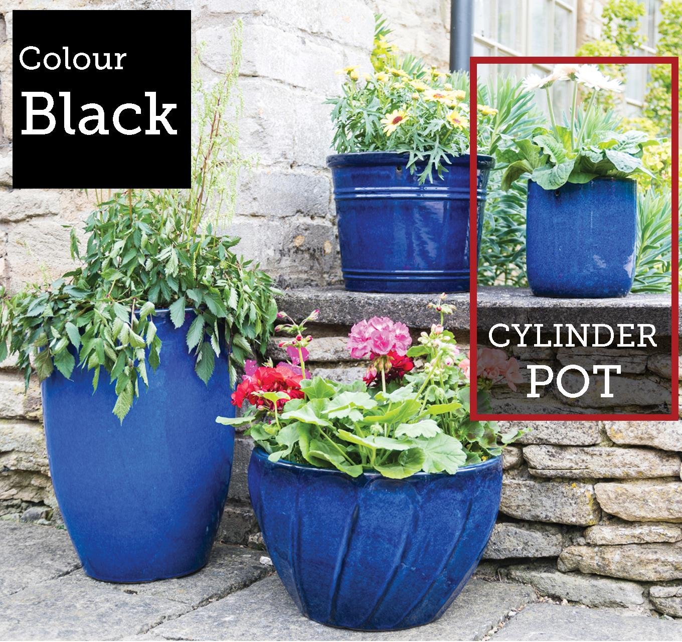 Berry Cylinder Pot Black 38x37