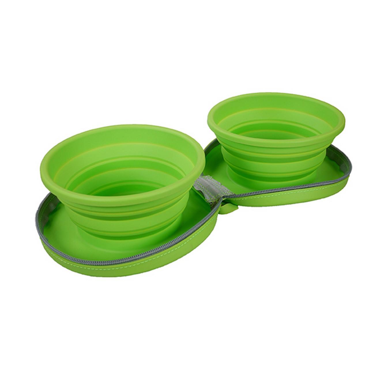 Foldable Zip Up Dual Bowls