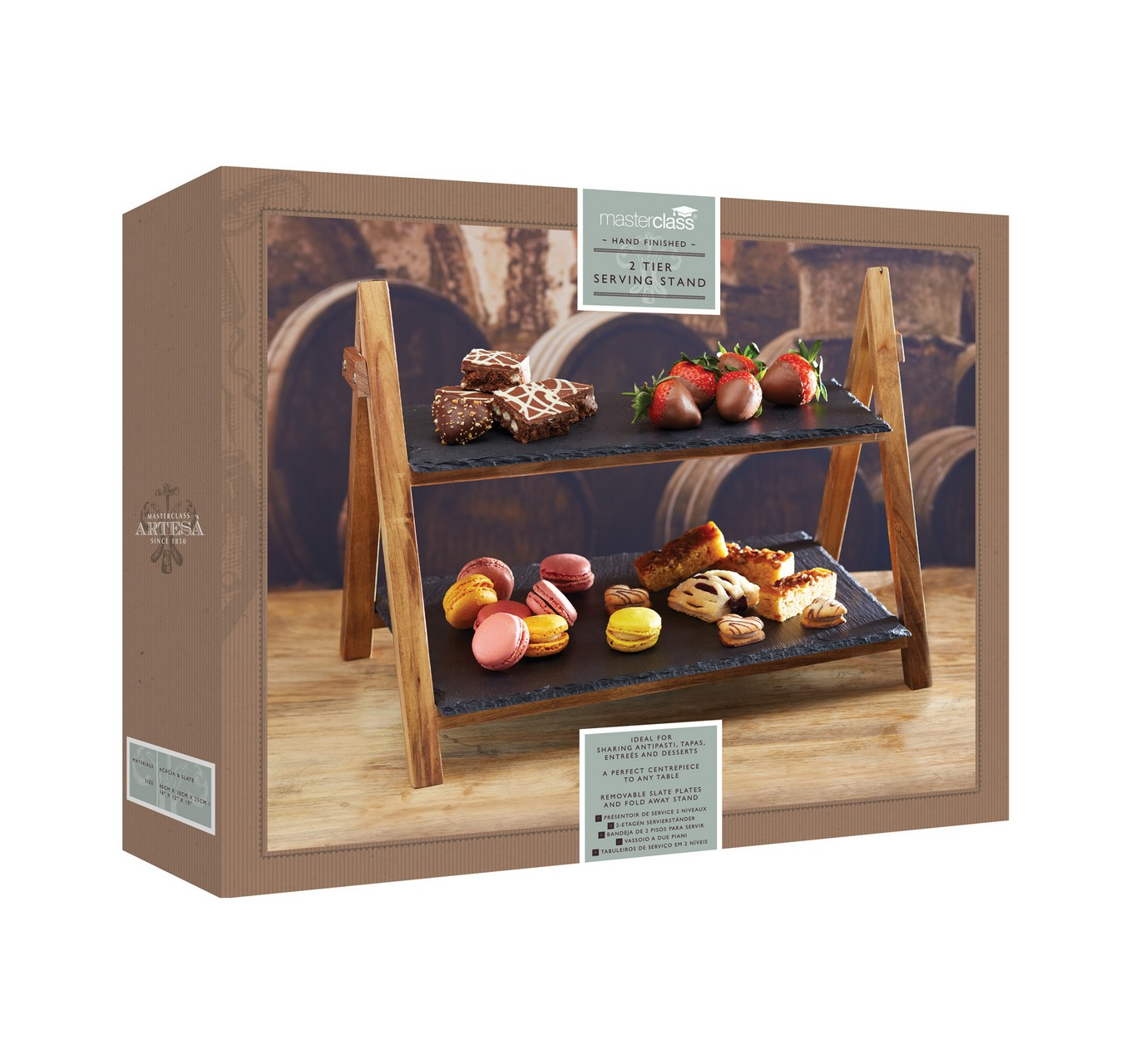 2 Tier Slate Serving Stand