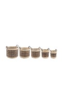 Brown Rattan Round Basket L